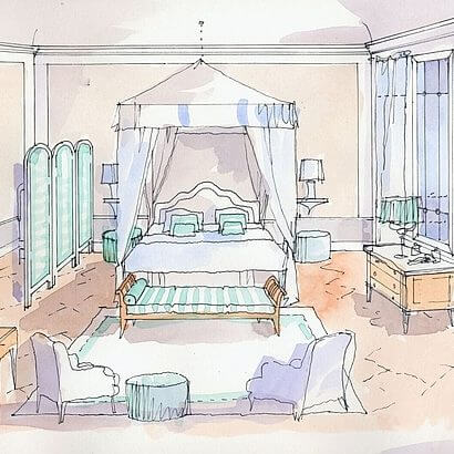 Architect Paolo Fiumi's design for the Lipparini bedroom