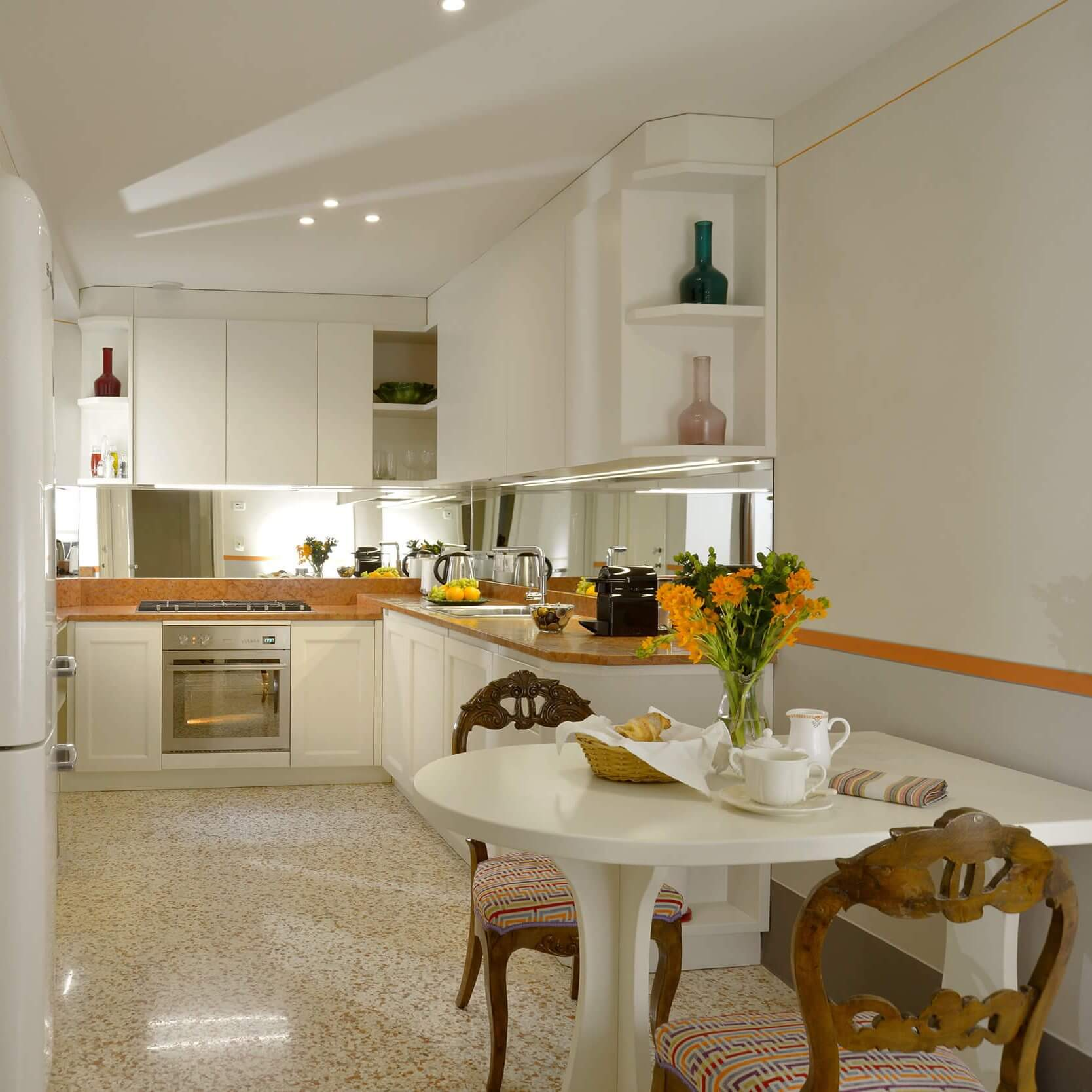 The spacious kitchen
